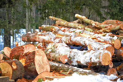 Snow Piles Painting - Tree Logs  by Lanjee Chee