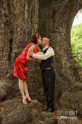 Bride Photograph - Tree Lovers- Bride And Groom by Kathleen K Parker