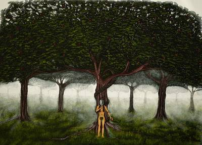 Fruit Tree Art Painting - Tree Of Good And Evil-eve With Large Green Garden Of Eden Tree by Millian Glenn