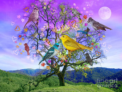 Moon Digital Art - Tree Of Happiness by Alixandra Mullins