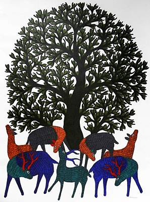 Gond Art Gallery Painting - Tree Of Life Gst- 40 by Gareeba Singh Tekam