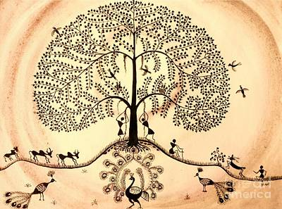Warli Painting - Tree Of Life II by Anjali Vaidya