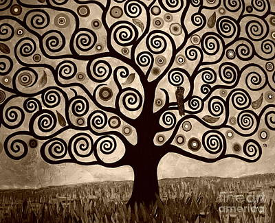 Tree Of Life In Sepia Print by Samantha Black