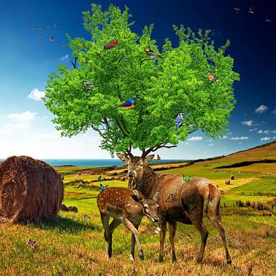 Symbolic Mixed Media - Tree Of Life by Marian Voicu