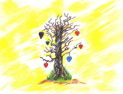 Hearts On Trees Drawing - Tree Of Love by Mary Zimmerman