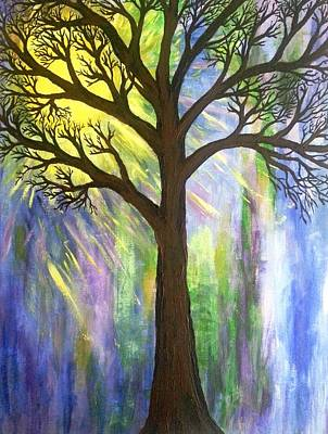 Tree On Blue  Print by Christine Chase