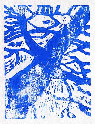 Lino Painting - Tree Print Blue by Christina Rahm