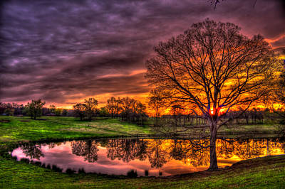 Sunrise Reflections Printed Upon A Farm Pond Print by Reid Callaway