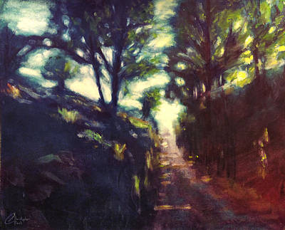 Tuscan Sunset Painting - Tree-shaded Path Florence Italy by Christopher Clark