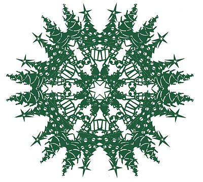 Papercut Tapestry - Textile - Tree Snowflake by Eric Fronapfel