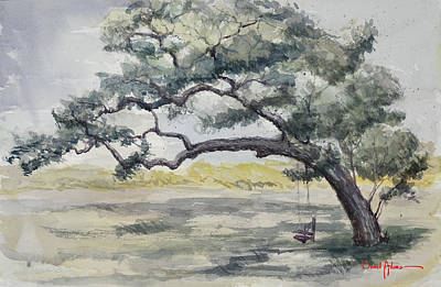 Swing Painting -  Da187 Tree Swing Painting By Daniel Adams by Daniel  Adams