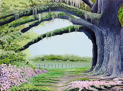 Southern Plantation Painting - Tree Tunnel by Laura Parrish