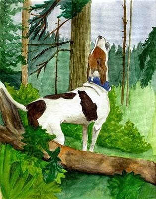 Coonhound Painting - Treeing Walker Coonhound Dog  by Olde Time  Mercantile