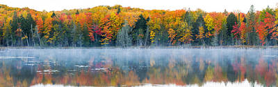 Trees In Autumn At Lake Hiawatha, Alger Print by Panoramic Images