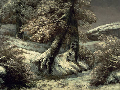 Trees In The Snow Print by Gustave Courbet
