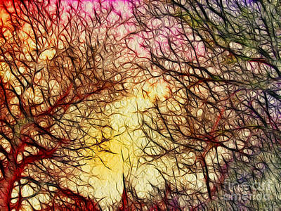 Art In Nature Mixed Media - Trees Of The Four Seasons by Kaye Menner