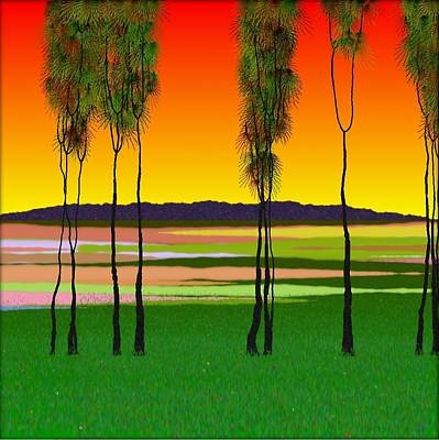 Abstract Digital Art - Trees Under A Red Sky by GuoJun Pan