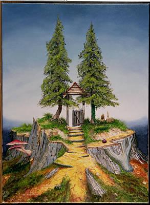 Fir Trees Photograph - Treescape, 1992 Oil On Canvas by Trevor Neal