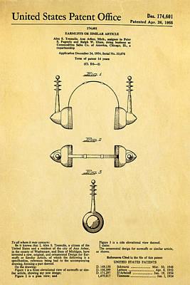 Tremulis Earmuffs Patent Art 1955 Print by Ian Monk