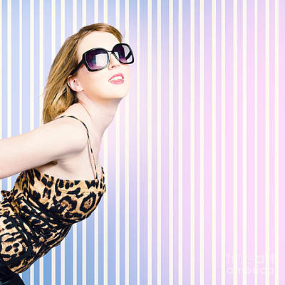 Trendy Fashion Model Wearing 80's Attire Print by Jorgo Photography - Wall Art Gallery