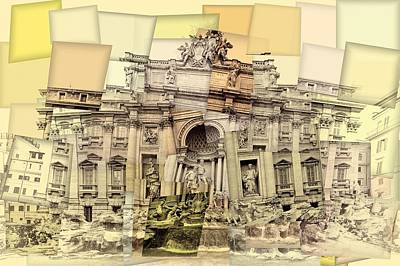 Avant Garde Mixed Media - Trevi Fountain Cubism by Dan Sproul
