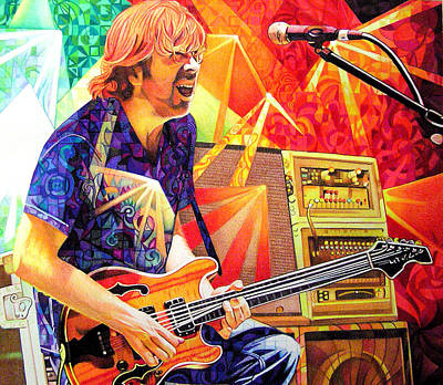 Guitar Drawing - Trey Anastasio Squared by Joshua Morton