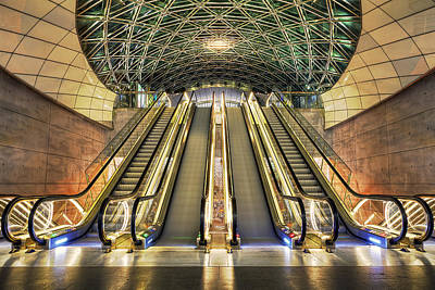 Man Photograph - Triangeln Station Escalators by EXparte SE