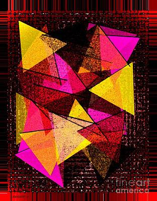 Red Digital Art - Triangles In Abstract Art  by Mario Perez