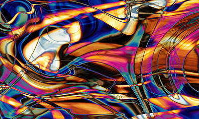 Vibrating Digital Art - Triangulating Elements Of Other Worlds by Kyle Wood