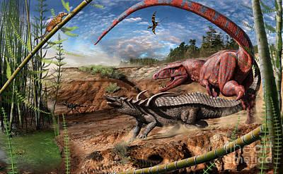 Paleoart Digital Art - Triassic Mural 2 by Julius Csotonyi