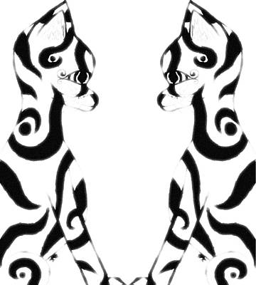 Digital Art - Tribal Black Cats On White by Josephine Ring