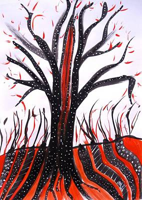 Indian Ink Mixed Media - Tribal Tree by Karen  Connolly
