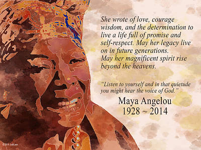 Tribute To Maya Angelou Print by The Art Of JudiLynn