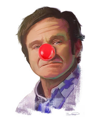 Clown Nose Painting - Tribute To Robin Williams by Brett Hardin