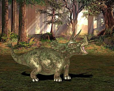 Triceratops Dinosaur Print by Friedrich Saurer