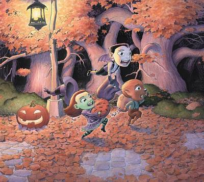Lamp Post Mixed Media - Trick Or Treat by Richard Moore