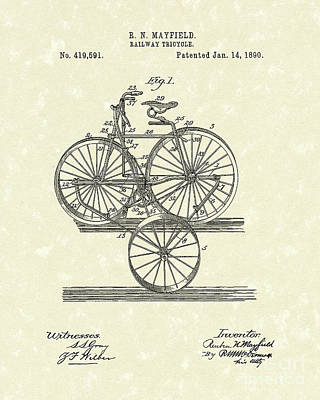 Tricycle Drawing - Tricycle 1890 Patent Art by Prior Art Design