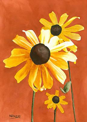 Black Eye Susan Painting - Trio by Ken Powers