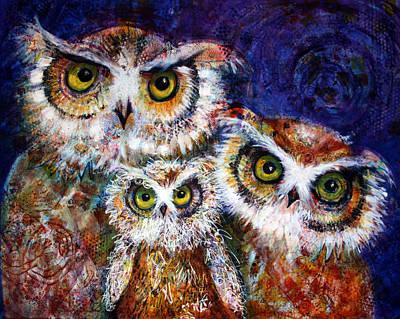 Bright Watercolor Portrait Bright Watercolor Painting - Trio by Laurel Bahe