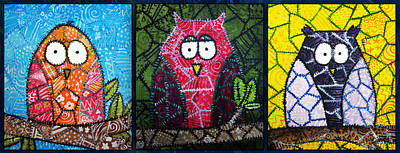 Owl Painting - Trio Of Patchwork Owls by Stacey Clarke
