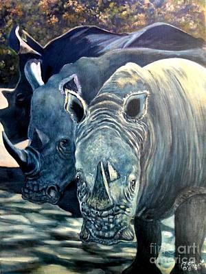 Trio Of Rhino Print by Caroline Street
