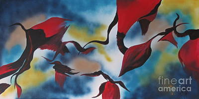 Triphid Painting - Triphids In Red by Barbara Petersen