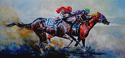 Action Sports Art Painting - The Preakness Stakes by Hanne Lore Koehler