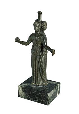 Statue Portrait Photograph - Triple Form Of Hecate Around A Column by Everett