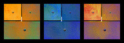 Abstracts Photograph - Triptych Orange Blue Gold - Colorful Rust by Menega Sabidussi