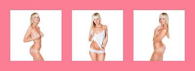 Nude Photograph - Triptychon Beautiful Nude Blonde 3 by Jochen Schoenfeld