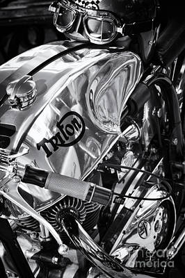 Triton Cafe Racer Motorcycle Monochrome Print by Tim Gainey
