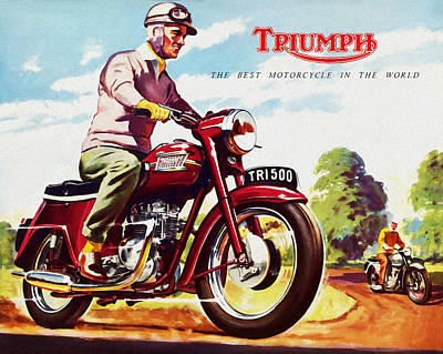 Twins Photograph - Triumph 1958 by Mark Rogan