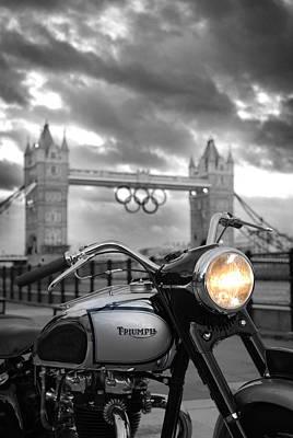 London Skyline Photograph - Triumph T100 by Mark Rogan