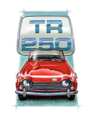 British Digital Art - Triumph Tr-250 Sportscar In Red by David Kyte